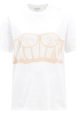 Alexander McQueen Women Short Sleeve - Corset-print Cotton-jersey T-shirt - Womens