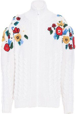 Miu Miu Women Cardigans - Floral-embroidered cardi-coat