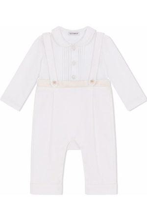 Dolce & Gabbana Baby Rompers - Pleated-bib cotton-silk romper