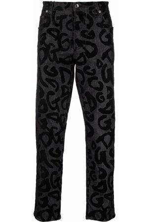 Dolce & Gabbana Men Straight - Flocked-logo straight-leg jeans