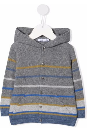 KNOT Hoodies - Striped button-up knitted hoodie