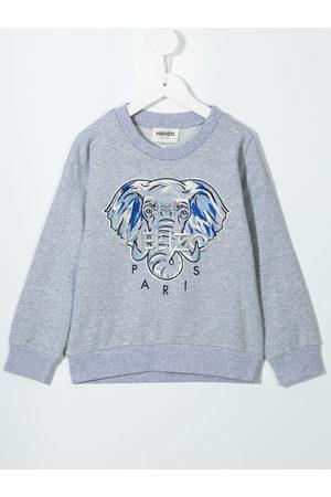 Kenzo Girls Sweatshirts - Logo-embroidered cotton sweatshirt