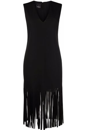 Pinko Women Midi Dresses - V-neck fringed midi dres