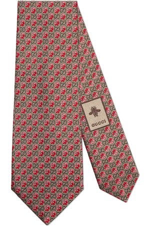 Gucci Men Neckties - Flowers and GG silk jacquard tie