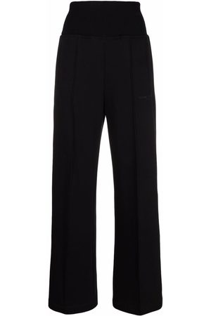 Msgm Women Culottes - Embroidered-logo slip-on palazzo trousers
