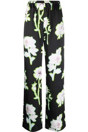 Msgm Women Formal Pants - High-waist floral trousers