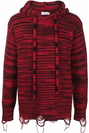 LANEUS Men Sweaters - Striped drawstring hooded jumper