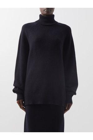 Raey Women Turtlenecks - Recycled-cashmere Blend Roll-neck Sweater - Womens - Dark Navy
