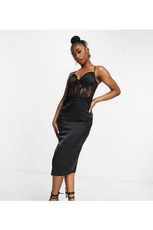 Missguided Satin midaxi dress with lace insert in