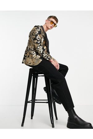 Twisted Tailor Blazer in with gold sequin floral design