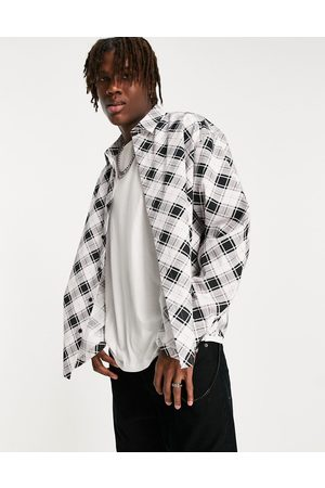 ASOS Boxy oversized bias check shirt with pockets in mono