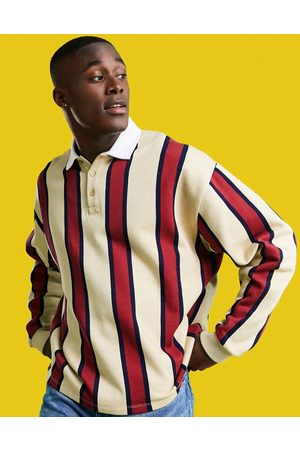 ASOS Oversized rugby sweatshirt with all-over stripes-Pink