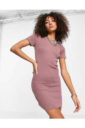VILA Ribbed jersey dress in mauve-Pink