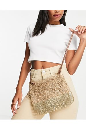 Accessorize Sarah square cross body bag in natural and metallic gold-Neutral