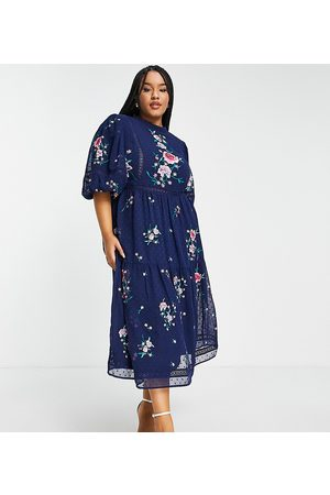 ASOS ASOS DESIGN Curve high neck dobby embroidered midi dress with lace trims in