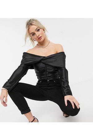 ASOS Women Strapless Tops - ASOS DESIGN Petite satin off-the-shoulder top with drape detail in