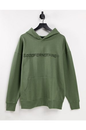 Good For Nothing Men Hoodies - Co-ord oversized hoodie in sage with logo print