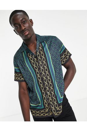 ASOS Men Casual - Relaxed revere shirt in satin with border print