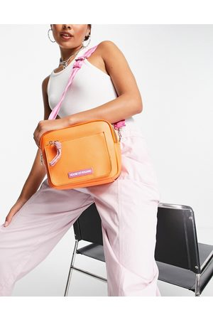 House of Holland Women Shoulder Bags - Cross body camera bag in orange with contrast logo strap in pink
