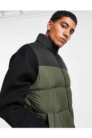 JACK & JONES Originals puffer vest in khaki colourblock-Green