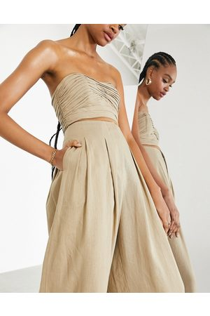 ASOS Pleated off shoulder top in -Neutral