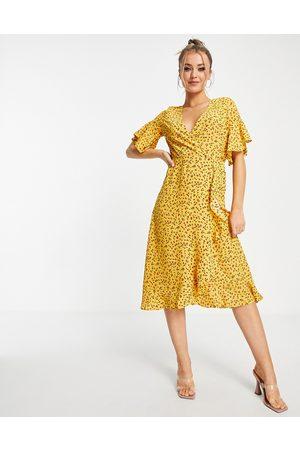 Ax Paris Ruffle wrap midi dress in -Multi
