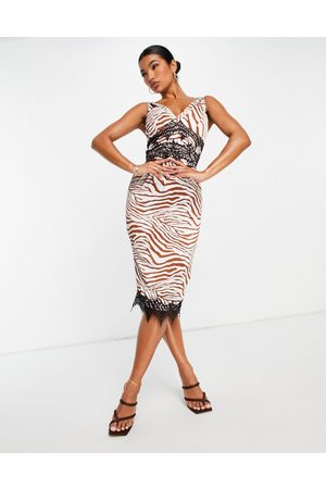 Liquorish Women Printed Dresses - Midi dress with lace inserts in zebra print