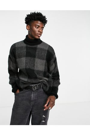ASOS Men Sweaters - Fluffy knit check roll neck jumper in -Grey