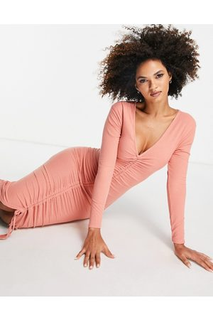 Club L Ruched front long-sleeved dress in rose-Pink
