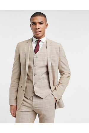 ASOS Men Suits - Wedding super skinny suit jacket in prince of wales check in -Neutral