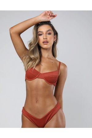 Kulani Kinis Clay rib underwire bikini top in rust