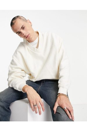 Reclaimed Men Sweatshirts - Inspired v-neck sweatshirt with chest embroidery in -Neutral