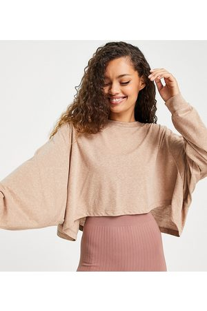 ASOS Women Sports Tops - 4505 Petite yoga long sleeve top with open back detail-Neutral