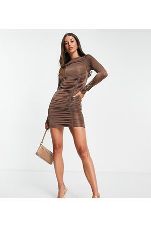 Missguided Women Evening Dresses - Slinky long sleeve mini dress with ruching in