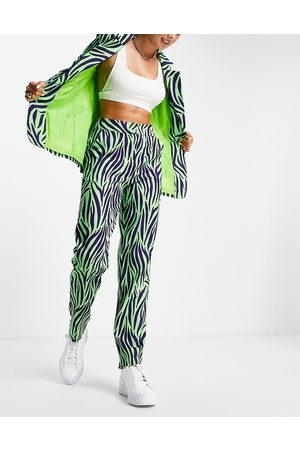 Liquorish Women Leggings - Zebra pint tailored pants in mint and black
