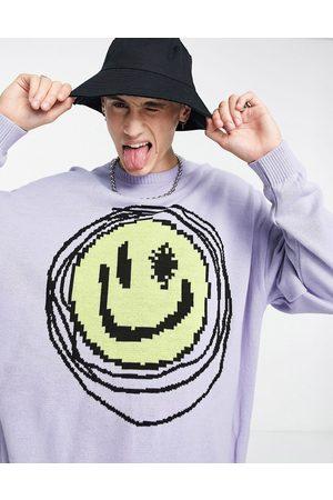 ASOS Men Cardigans - Knitted jumper with smile design in pale