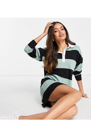 ASOS Women Evening Dresses - ASOS DESIGN Petite long-sleeved collared shirt mini dress in black and -Green