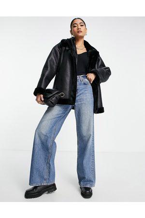 Whistles Women Jackets - Longline aviator biker jacket with faux fur trim in