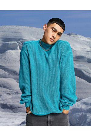 ASOS Men Turtlenecks - Knitted oversized fisherman rib turtleneck jumper in -Green