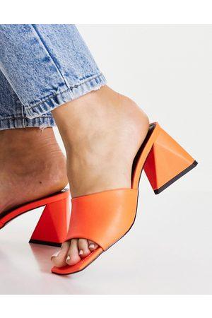 ASOS Women Heeled Sandals - Halliwell block heeled mules in
