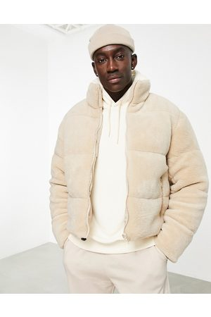 ASOS Borg puffer jacket in ecru-Neutral