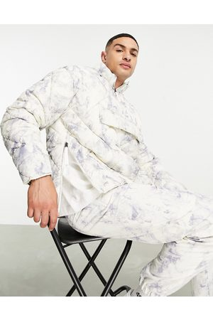 Topman Recycled quilted funnel neck jacket in tie- dye print