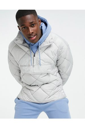 Topman Recycled quilted funnel neck jacket in