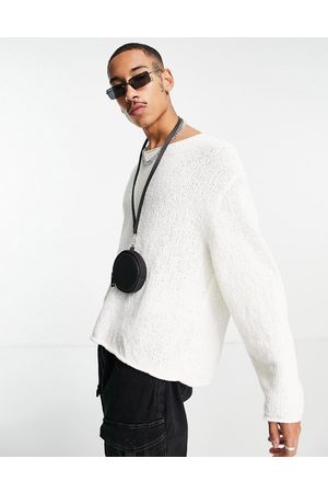 ASOS Knitted oversized textured jumper in -White