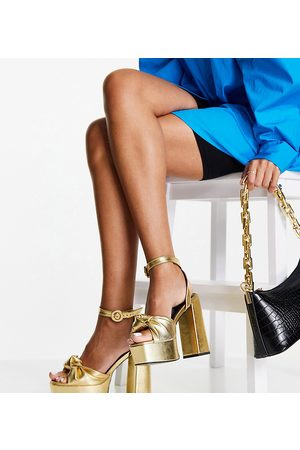 ASOS Wide Fit Note knotted platform heeled sandals in