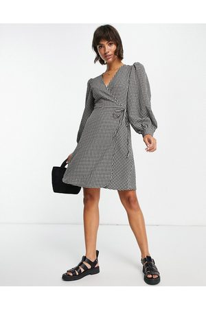 SELECTED Femme wrap mini dress with volume sleeves in -Multi