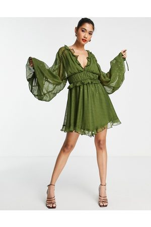 ASOS Tiered soft mini dress in textured chiffon with ruffle detail