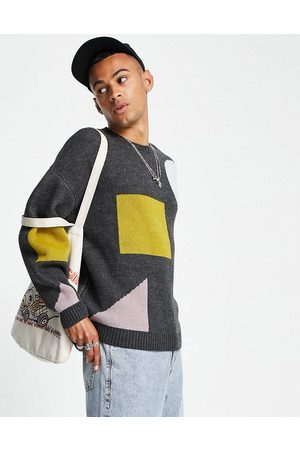 ASOS Knitted jacquard knit jumper with abstract shapes-Grey