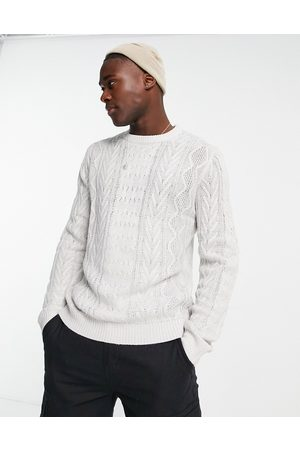 Another Influence Cable knit crew jumper in