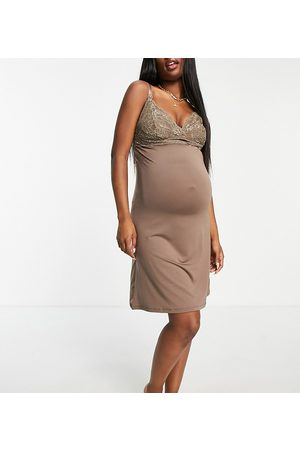 Mama Licious Mamalicious Maternity nursing night dress with lace detail in -Neutral